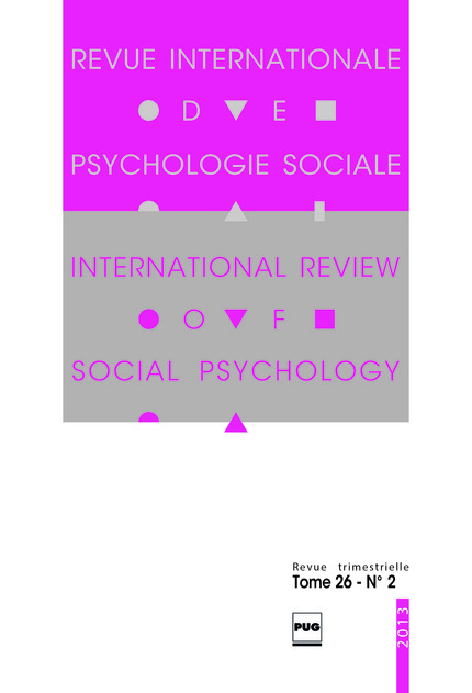 Revue internationale de psychologie sociale - 2013 - tome 26 - n°2 -  - PUG